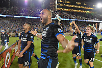 Stanford, CA - Saturday July 01, 2017: Anibal Godoy, Victor Bernardez during a Major League Soccer (MLS) match between the San Jose Earthquakes and the Los Angeles Galaxy at Stanford Stadium.