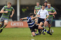 Darren Allinson of Bath Rugby puts boot to ball. Anglo-Welsh Cup match, between Bath Rugby and Newcastle Falcons on January 27, 2018 at the Recreation Ground in Bath, England. Photo by: Patrick Khachfe / Onside Images