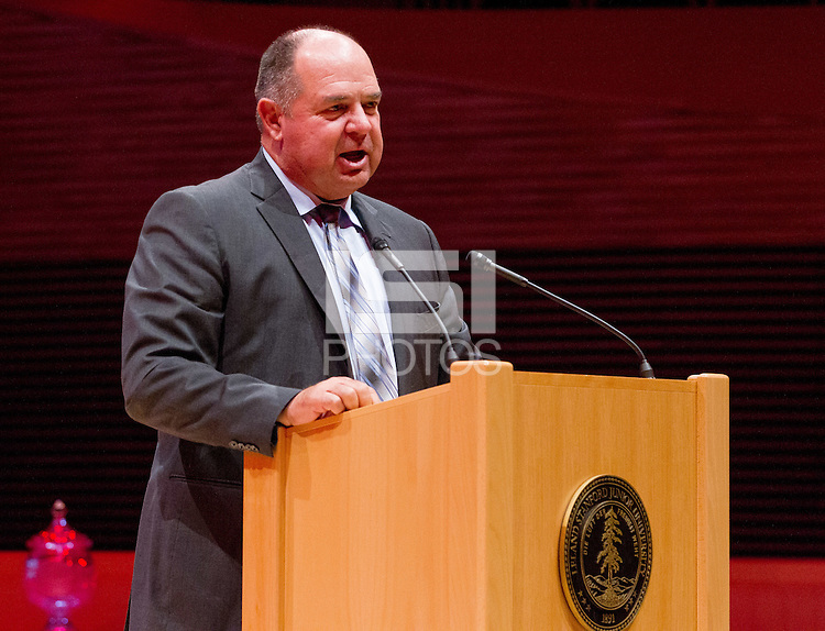 STANFORD, CA - OCTOBER 16, 2015—Dean Stotz, presents Kyle Peterson, into the 2015 Stanford Athletics Hall of Fame Induction Ceremony at the Bing Concert Hall.