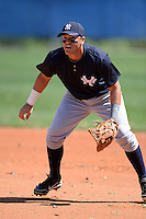 First baseman Jesus Aparicio (36) of the New York Yankees organization during practice before a minor league spring training game against the Toronto Blue Jays on March 16, 2014 at the Englebert Minor League Complex in Dunedin, Florida.  (Mike Janes/Four Seam Images)