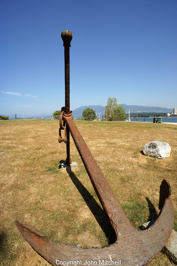 Rusty anchor outside the Vancouver Maritime Museum in Vanier Park, Vancouver, BC, Canada