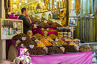 Fes, Morocco.  Vendor of Dates, Nuts, and Dried Fruits in the Old City.