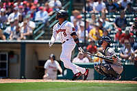 Rochester Red Wings Jaylin Davis (9) at bat during an International League game against the Scranton/Wilkes-Barre RailRiders on June 25, 2019 at Frontier Field in Rochester, New York.  Rochester defeated Scranton 10-9.  (Mike Janes/Four Seam Images)