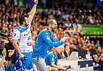 Juergen Schweikardt (TVB Stuttgart #C1) ; Zarko Peshevski (TVB Stuttgart #44) beim Spiel in der Handball Bundesliga, TVB 1898 Stuttgart - HBW Balingen-Weilstetten.<br /> <br /> Foto © PIX-Sportfotos *** Foto ist honorarpflichtig! *** Auf Anfrage in hoeherer Qualitaet/Aufloesung. Belegexemplar erbeten. Veroeffentlichung ausschliesslich fuer journalistisch-publizistische Zwecke. For editorial use only.