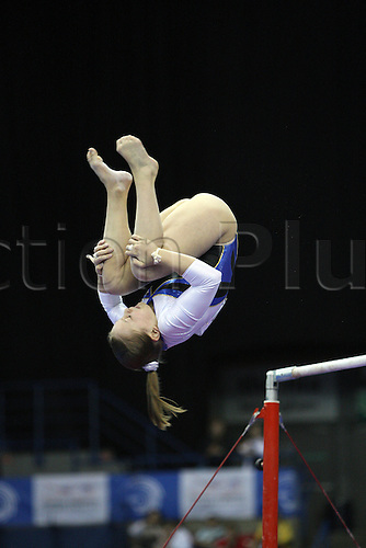 Nataliya Kononenko of Ukraina competes at the uneven bars during the senior women apparatus final at the European Artistic Gymnastics Championship at National Indoor Arena in Birmingham, UK on May 2, 2010.