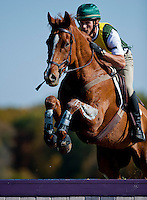 Houston, with rider Daniel Clasing (USA), competes during the Cross Country test during the Fair Hill International at Fair Hill Natural Resources Area in Fair Hill, Maryland on October 20, 2012.