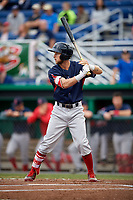 Lowell Spinners center fielder Cole Brannen (18) at bat during game against the Batavia Muckdogs on July 14, 2018 at Dwyer Stadium in Batavia, New York.  Lowell defeated Batavia 8-4.  (Mike Janes/Four Seam Images)