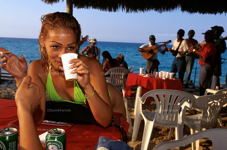 Cuban sun worshipers and a few vacationing tourists flock to a beach east of Havana on the weekend to be part of the scene. People gather under the shade of cabanas to dance and listen to hot salsa music.