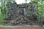 Angkorian temple Prasat Thneng at Koh Ker (early 10th century).<br /> Linga.<br /> Koh Ker temple complex is a remote archaeological site in the jungle of Preah Vihear province in northern Cambodia. Inscriptions found at the site say the name of the ancient town was Chok Gargyar. Briefly in the reign of Jayavarman IV and Harshavarman II (928–944 AD) it was the capital of the Khmer Empire.Koh Ker was also known as Lingapura (City of Lingams), all of the monuments here are dedicated to Hindu deities, mainly Shiva.