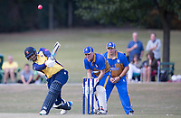 Rishi Patel of Essex lofts over wide long on during Upminster CC vs Essex CCC, Benefit Match Cricket at Upminster Park on 8th September 2019