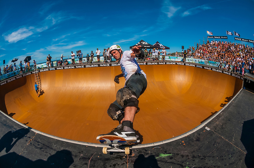 Bob Burnquist, professional skateboarder during competitions at the Beach Bowl during the Australian Open of Surfing at Manly Beach, Sydney, New South Wales, Australia