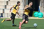 Getafe's Nemanja Maksimovic (l) and Jorge Molina during training session. May 19,2020.(ALTERPHOTOS/Acero)