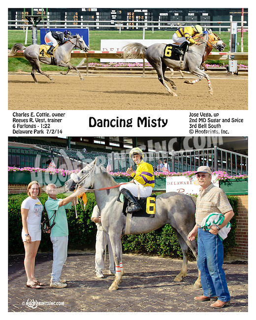 Dancing Misty winning at Delaware Park racetrack on 7/2/14