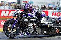 Sept 9, 2012; Clermont, IN, USA: NHRA pro stock motorcycle rider Eddie Krawiec during the US Nationals at Lucas Oil Raceway. Mandatory Credit: Mark J. Rebilas-