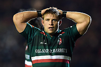 Tom Youngs of Leicester Tigers looks on during a break in play. European Rugby Champions Cup match, between Leicester Tigers and Munster Rugby on December 17, 2017 at Welford Road in Leicester, England. Photo by: Patrick Khachfe / JMP