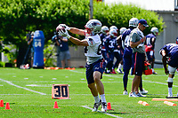 June 13, 2017: New England Patriots wide receiver Austin Carr (84) catches the ball at the New England Patriots organized team activity held on the practice field at Gillette Stadium, in Foxborough, Massachusetts. Eric Canha/CSM