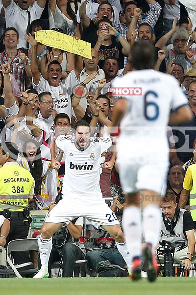 Real Madrid's Gonzalo Higuain goal during Spanish Supercup 2nd match on august 29 2012...Photo: Cesar Cebolla / ALFAQUI /NortePhoto.com<br /> <br /> **CREDITO*OBLIGATORIO** <br /> *No*Venta*A*Terceros*<br /> *No*Sale*So*third*<br /> *** No*Se*Permite*Hacer*Archivo**<br /> *No*Sale*So*third*