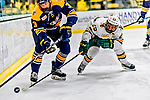 26 January 2019:  University of Vermont Catamount Forward Matt Alvaro, a Junior from Toronto, Ontario, in second period action against the Merrimack College Warriors at Gutterson Fieldhouse in Burlington, Vermont. The Catamounts defeated the Warriors 4-3 in overtime to take both games of their weekend America East conference series. Mandatory Credit: Ed Wolfstein Photo *** RAW (NEF) Image File Available ***