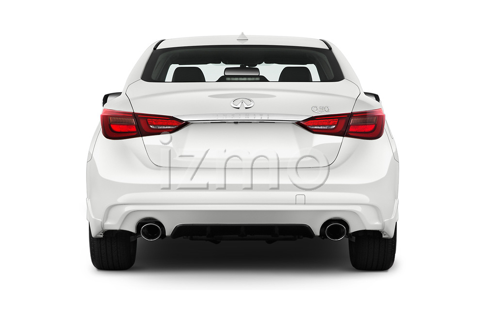 Straight rear view of a 2018 Infiniti Q50 Premium 4 Door Sedan stock images