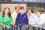Protesting for Ronan Galvin Killarney who will lose his special needs teacher in St Olivers NS Killarney due to Government cut backs in education was l-r: his mum Lorraine, his nan Liz , Carmel O'Keeffe and Shirley Galvin at the school on Wednesday