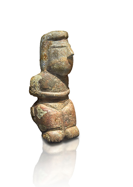 Middle Neolithic quartzose sandstone statue of a goddess from the archaeological site of Cott'e Baccas in Segarlu, Sardinia,. Museo archeologico nazionale, Cagliari, Italy. (National Archaeological Museum) - White Background