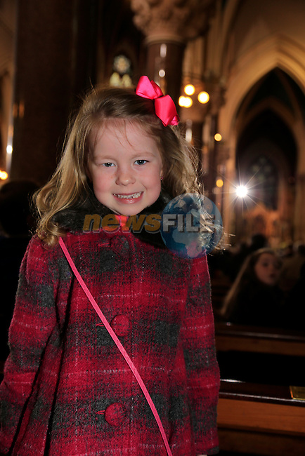 Ava Salmon at the mass in St Peters.<br /> Archbishop Eamon Martin, Coadjutor Archbishop of Armagh, celebrated Mass in Saint Peter&rsquo;s Church, Drogheda, on Sunday 26 January to mark the start of Catholic Schools Week.<br /> Picture: Fran Caffrey www.newsfile.ie