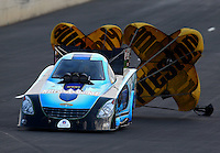 Jul. 19, 2014; Morrison, CO, USA; NHRA funny car driver Jeff Diehl during qualifying for the Mile High Nationals at Bandimere Speedway. Mandatory Credit: Mark J. Rebilas-