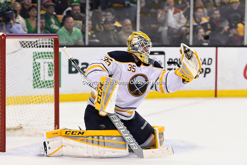 March 17, 2015 - Boston, Massachusetts, U.S. - Buffalo Sabres goalie Anders Lindback (35) makes a glove save during the NHL match between the Buffalo Sabres and the Boston Bruins held at TD Garden in Boston Massachusetts. Buffalo defeated Boston 2-1 by shoot out. Eric Canha/CSM