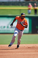 Baltimore Orioles shortstop Alcides Escobar (1) runs the bases during a Grapefruit League Spring Training game against the Philadelphia Phillies on February 28, 2019 at Spectrum Field in Clearwater, Florida.  Orioles tied the Phillies 5-5.  (Mike Janes/Four Seam Images)