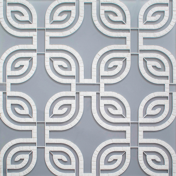 Heathrow Grande, a hand-cut and waterjet mosaic, shown in tumbled Afyon White and Chinchilla Serenity glass, is part of the Miraflores collection by Paul Schatz for New Ravenna.