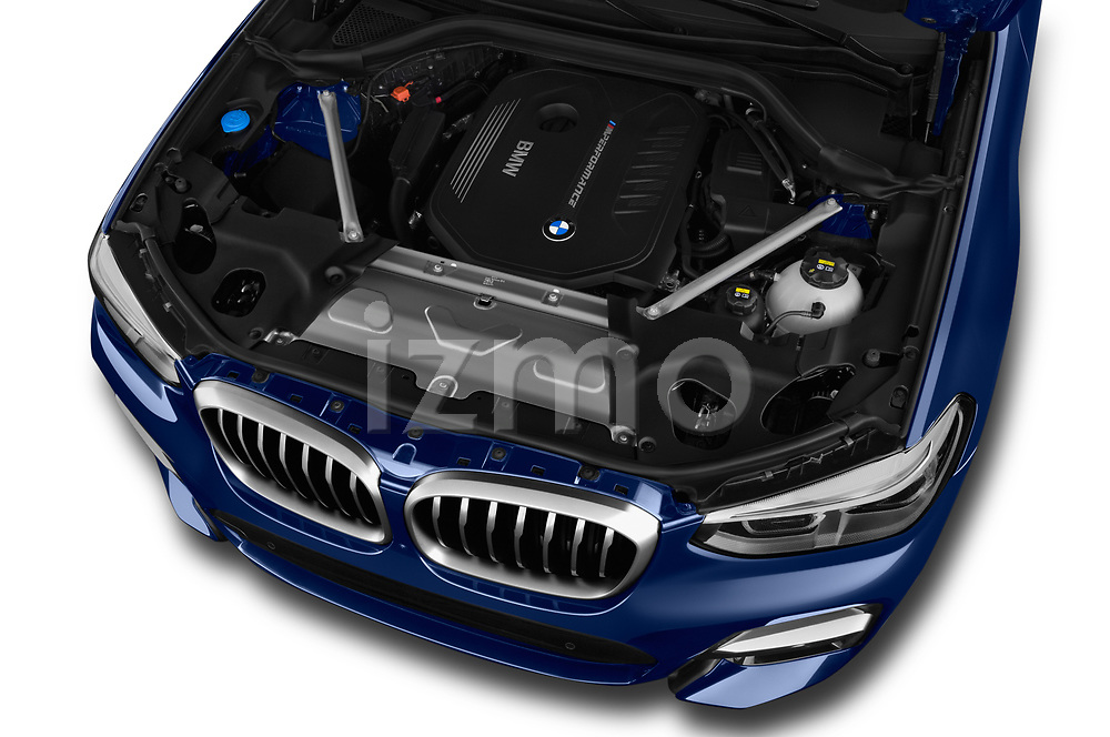 Car stock 2018 BMW X3 base 5 Door SUV engine high angle detail view