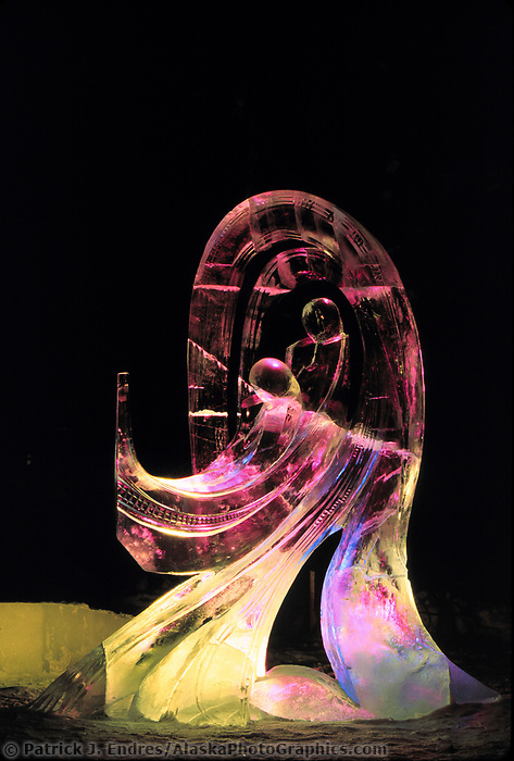Award winning High Water Abstract Ice sculpture, World Ice Sculpting competition, Fairbanks, Alaska.
