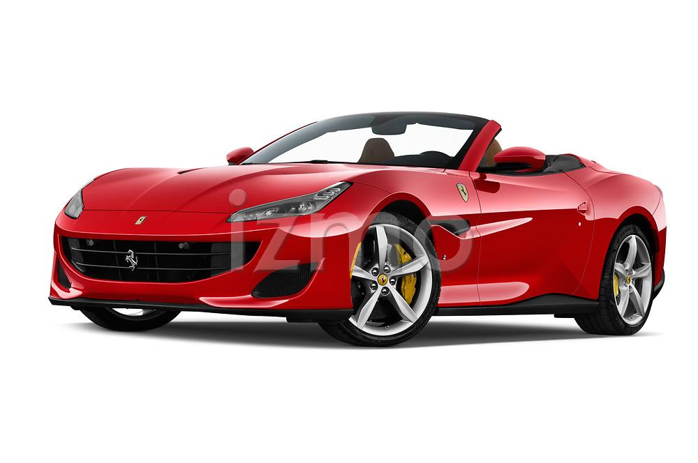 Stock pictures of low aggressive front three quarter view of a 2019 Ferrari Portofino base 2 Door Convertible