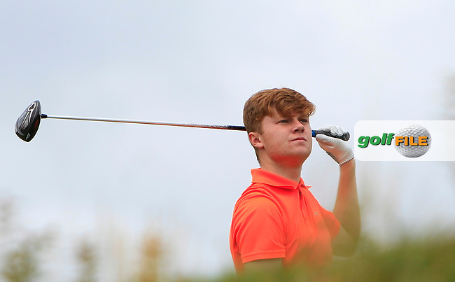 A.J. McCabe (Malahide) on the 18th tee during R1 of the 2016 Connacht U18 Boys Open, played at Galway Golf Club, Galway, Galway, Ireland. 05/07/2016. <br /> Picture: Thos Caffrey | Golffile<br /> <br /> All photos usage must carry mandatory copyright credit   (&copy; Golffile | Thos Caffrey)