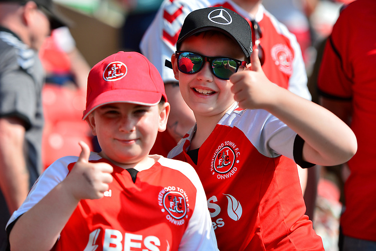 Young Fleetwood Town fans <br /> <br /> Photographer Richard Martin-Roberts/CameraSport<br /> <br /> The EFL Sky Bet League One - Fleetwood Town v Peterborough United - Friday 19th April 2019 - Highbury Stadium - Fleetwood<br /> <br /> World Copyright © 2019 CameraSport. All rights reserved. 43 Linden Ave. Countesthorpe. Leicester. England. LE8 5PG - Tel: +44 (0) 116 277 4147 - admin@camerasport.com - www.camerasport.com