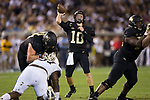 John Wolford (10) of the Wake Forest Demon Deacons passes the ball during second half action against the Georgia Tech Yellow Jackets at Bobby Dodd Stadium on October 21, 2017 in Atlanta, Georgia.  The Yellow Jackets defeated the Demon Deacons 38-24. (Brian Westerholt/Sports On Film)