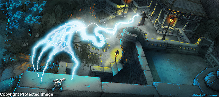 Gargamel sets up his lab in the basement of the Belvedere Castle in Central Park. Here he captures one of the Smurfs.