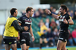 Saracens' Chris Wyles celebrates scoring his side's 1st try with Saracens' Brad Barritt - Rugby Union - 2014 / 2015 Aviva Premiership - Saracens vs. Gloucester - Allianz Park Stadium - London - 11/10/2014 - Pic Charlie Forgham-Bailey/Sportimage