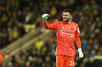 8th November 2019; Carrow Road, Norwich, Norfolk, England, English Premier League Football, Norwich versus Watford; Ben Foster of Watford celebrates the goal by Andre Gray for 0-2 in the 52nd minute - Strictly Editorial Use Only. No use with unauthorized audio, video, data, fixture lists, club/league logos or 'live' services. Online in-match use limited to 120 images, no video emulation. No use in betting, games or single club/league/player publications