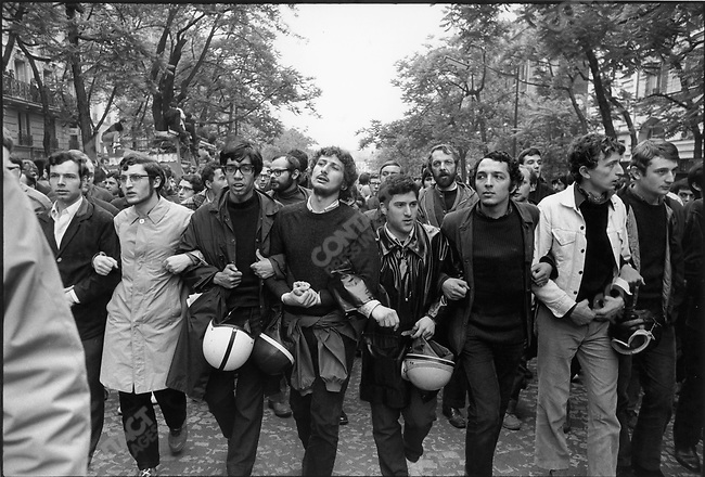 The 1968 May Events, demonstrators leaving the Charlety stadium, Paris, France, May 27, 1968