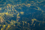 Aerial view of green eroded mountains near Bajawa