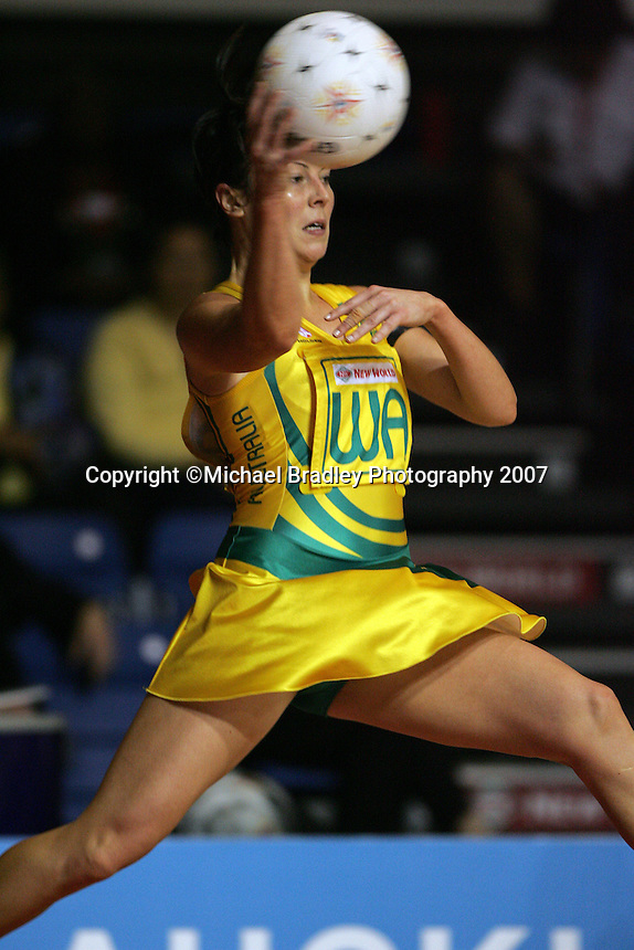 15.11.2007 Australian Laura von Bertouch in action during the Australia v Cook Islands match at the New World Netball World Champs held at Trusts Stadium Auckland New Zealand. Mandatory Photo Credit ©Michael Bradley.