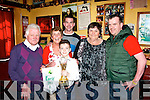 Proud aunt Bridie Roche of the Sportsfield bar, Tralee with her 11 year old nephew, Ciaran Keogh (Dublin) after he won the U11 title in An Comhdhail World Irish Dance Championships in the INEC last weekend, pictured here on Wednesday l-r: Dave Barrett, Bridie Roche, Ciaran Keogh, Damian Roche, Tina Cunningham and Keith Roche.