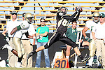 Palos Verdes, CA 10/30/09 - Evan Fitzgerald (#85) reaches to catch a long pass in the first quarter as Mira Costa's  Donta Bavis (MC# 5) pursues him.  Mira Costa defeated Peninsula 42-19.