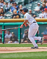 Carlos Perez (19) of the Salt Lake Bees follows through on his swing against the El Paso Chihuahuas in Pacific Coast League action at Smith's Ballpark on April 30, 2017 in Salt Lake City, Utah. El Paso defeated Salt Lake 3-0. This was Game 1 of a double-header. (Stephen Smith/Four Seam Images)