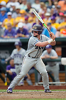 TCU Horned Frogs catcher Evan Skoug (9) at bat against the LSU Tigers in the NCAA College World Series on June 14, 2015 at TD Ameritrade Park in Omaha, Nebraska. TCU defeated LSU 10-3. (Andrew Woolley/Four Seam Images)
