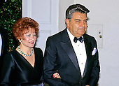 Chilean television host Mario Kreutzberger, who is better known by his stage name, Don Francisco, and his wife Teresa, arrive at the White House in Washington, DC for the State Dinner honoring President Carlos Menem of Argentina on Thursday, November 14, 1991.<br /> Credit: Ron Sachs / CNP