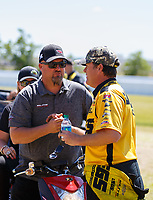 Apr 23, 2017; Baytown, TX, USA; NHRA pro stock team owner Richard Freeman (left) with driver Jeg Coughlin Jr during the Springnationals at Royal Purple Raceway. Mandatory Credit: Mark J. Rebilas-USA TODAY Sports