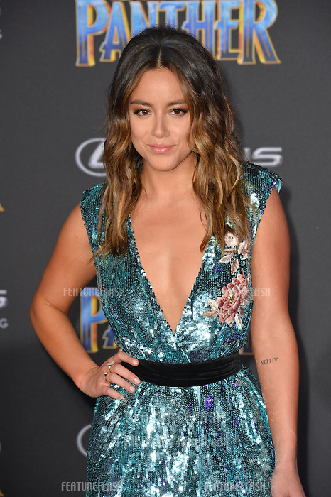 Chloe Bennet at the world premiere for &quot;Black Panther&quot; at the Dolby Theatre, Hollywood, USA 29 Jan. 2018<br /> Picture: Paul Smith/Featureflash/SilverHub 0208 004 5359 sales@silverhubmedia.com