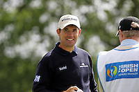 Padraig Harrington smiles while he waits to tee off on the 9th hole during the third round of the Irish Open on 19th of May 2007 at the Adare Manor Hotel & Golf Resort, Co. Limerick, Ireland. (Photo by Eoin Clarke/NEWSFILE)....